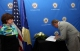 President Pacolli signs the Book of Mourning opened for the two US airmen killed in Frankfurt yesterday