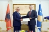 "President Thaçi awards the President of the Assembly of Albania the medal ""Order of Freedom"""