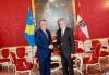 Austrian President Alexander Van der Bellen congratulates President Thaçi on the tenth anniversary of the independence