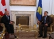 The Acting President of Kosovo Dr. Jakup Krasniqi receives the Swiss Minister of Foreign Affairs